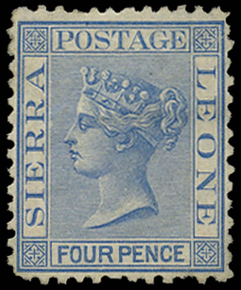 SIERRA LEONE 1872  SG14 Mint 4d blue watermark CC upright perf 12½