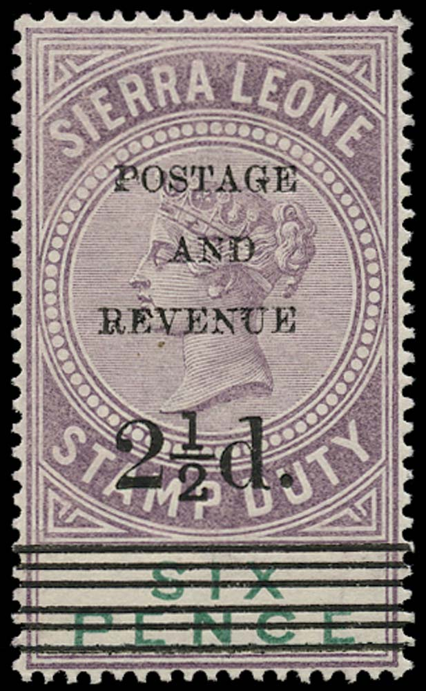 SIERRA LEONE 1897  SG60 Mint 2½d on 6d dull purple and green type 10 surcharge