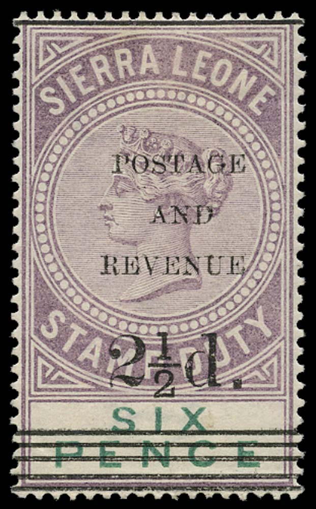 SIERRA LEONE 1897  SG61 Mint 2½d on 6d dull purple and green type 11 surcharge