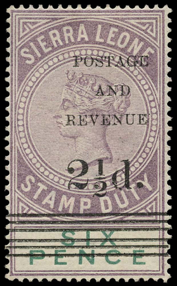 SIERRA LEONE 1897  SG62 Mint 2½d on 6d dull purple and green type 12 surcharge
