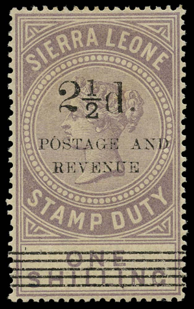 SIERRA LEONE 1897  SG66 Mint 2½d on 1s dull lilac green type 11 surcharge