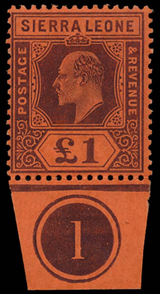 SIERRA LEONE 1904  SG98 Mint £1 purple on red watermark MCA