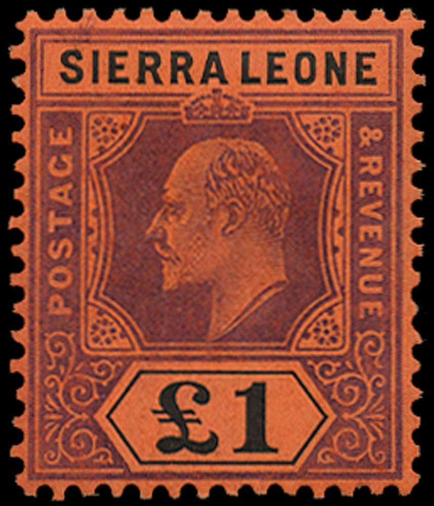 SIERRA LEONE 1907  SG111 Mint £1 purple and black on red watermark MCA