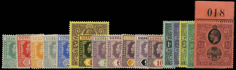 SIERRA LEONE 1912  SG112/28 Mint watermark MCA set of 17 to £1