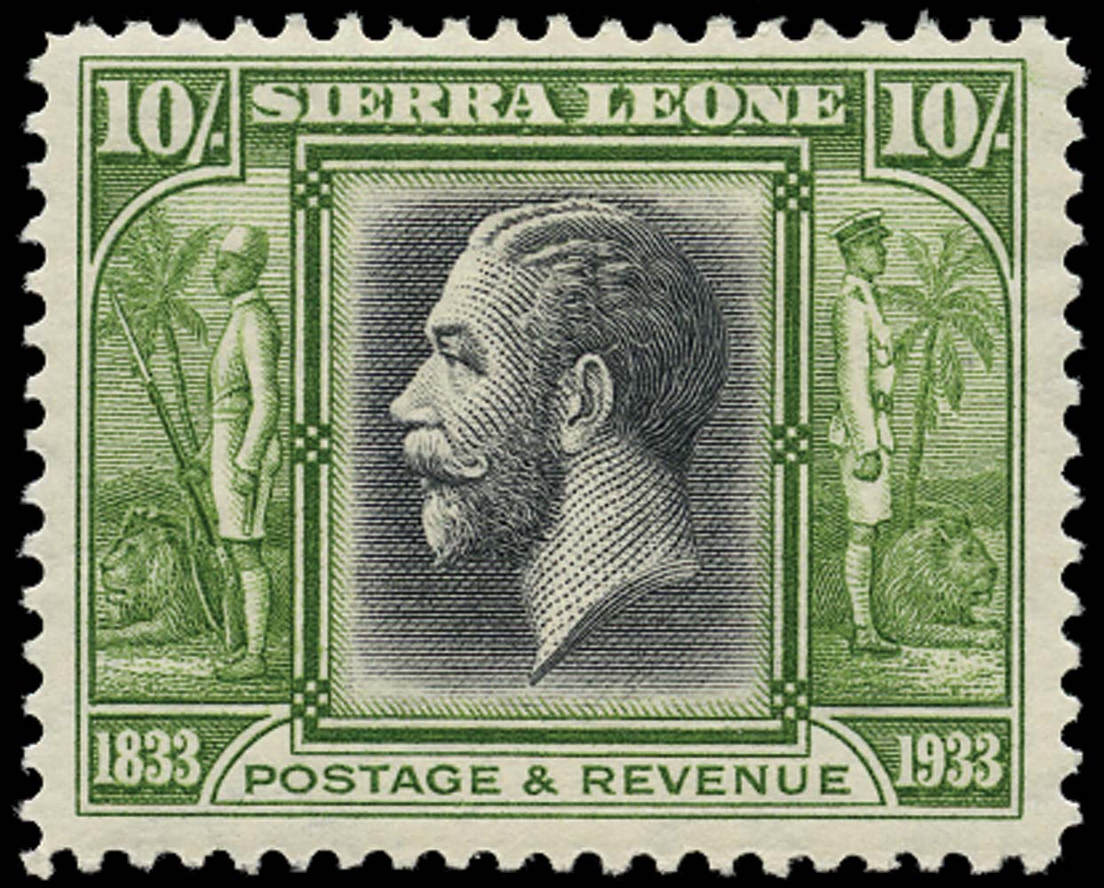 SIERRA LEONE 1933  SG179 Mint Wilberforce 10s King George V