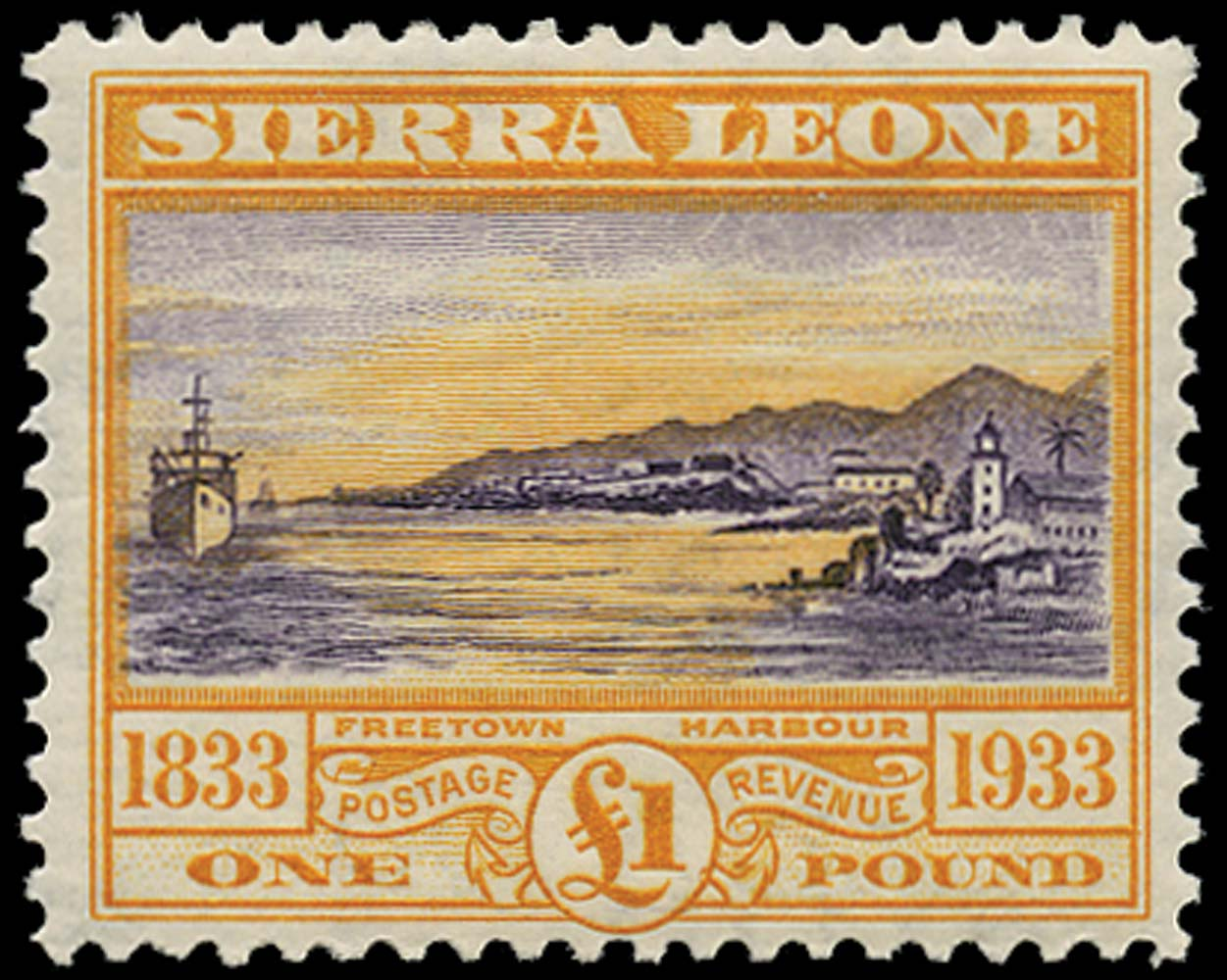 SIERRA LEONE 1933  SG180 Mint Wilberforce £1 Freetown harbour