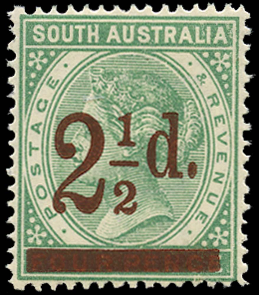 SOUTH AUSTRALIA 1891  SG233 Mint 2½d on 4d green perf 15