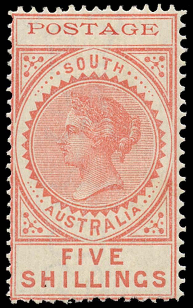 SOUTH AUSTRALIA 1902  SG277 Mint 5s rose thin POSTAGE