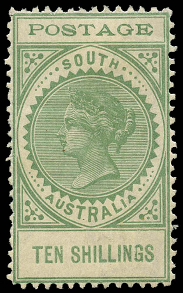 SOUTH AUSTRALIA 1902  SG278 Mint 10s green thin POSTAGE