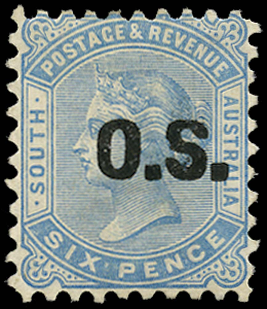SOUTH AUSTRALIA 1888  SGO50 Official 6d blue type O1 opt watermark 13 perf 10