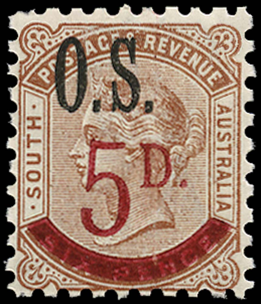SOUTH AUSTRALIA 1891  SGO72 Official 5d on 6d deep brown type O2 opt