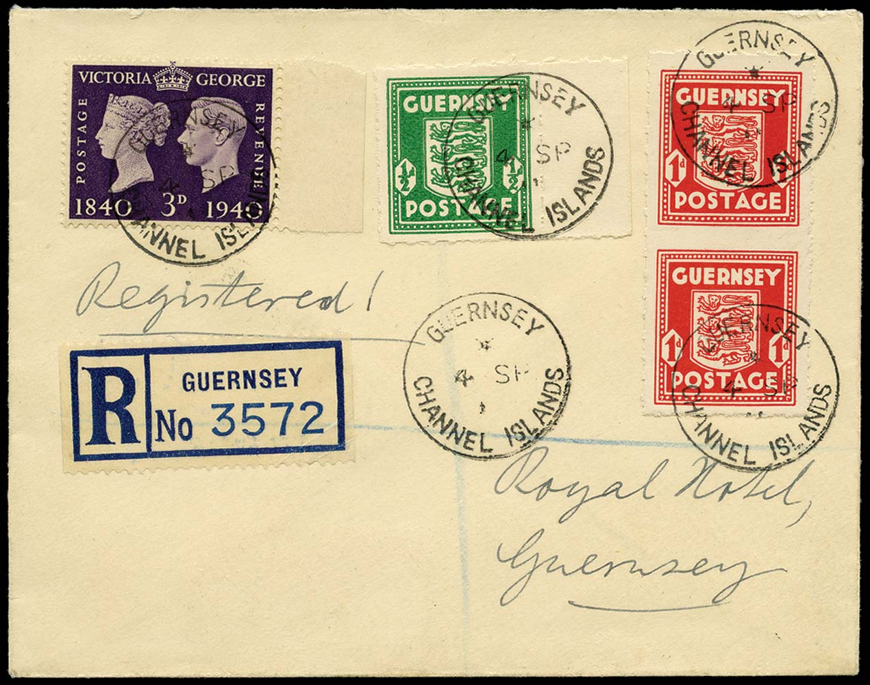 GB 1941  SG1,2e,484 Cover - 1d Imperf between (vertical pair)