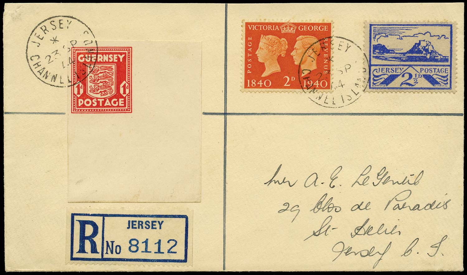 GB 1941  SG2c,7,482 Cover - 1d Imperforate