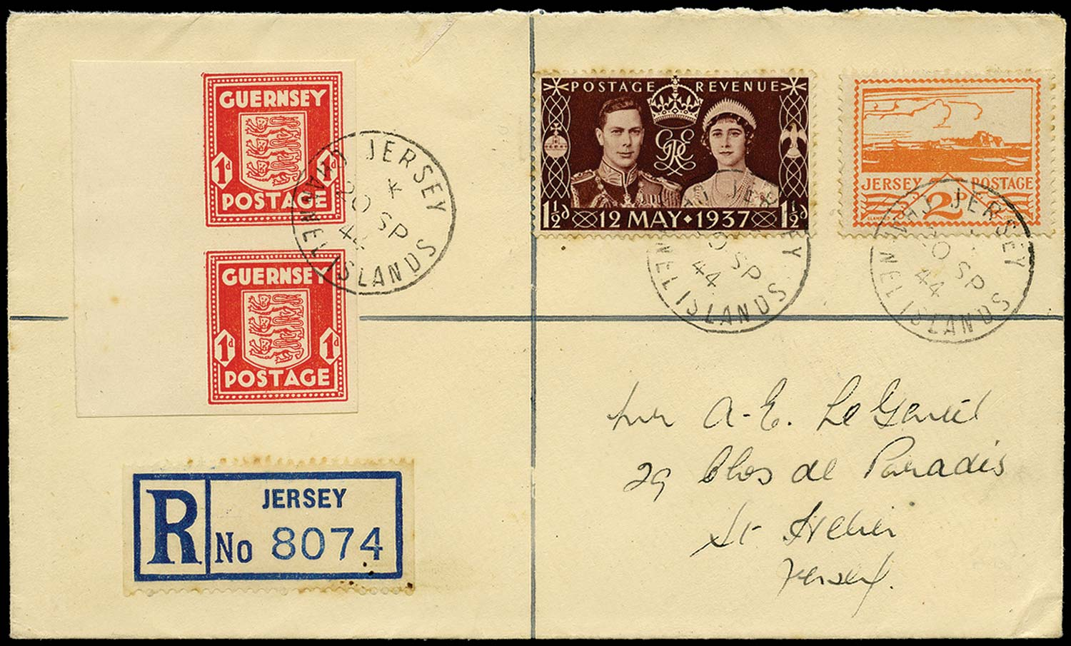 GB 1941  SG2c,6,461 Cover - 1d Imperforate
