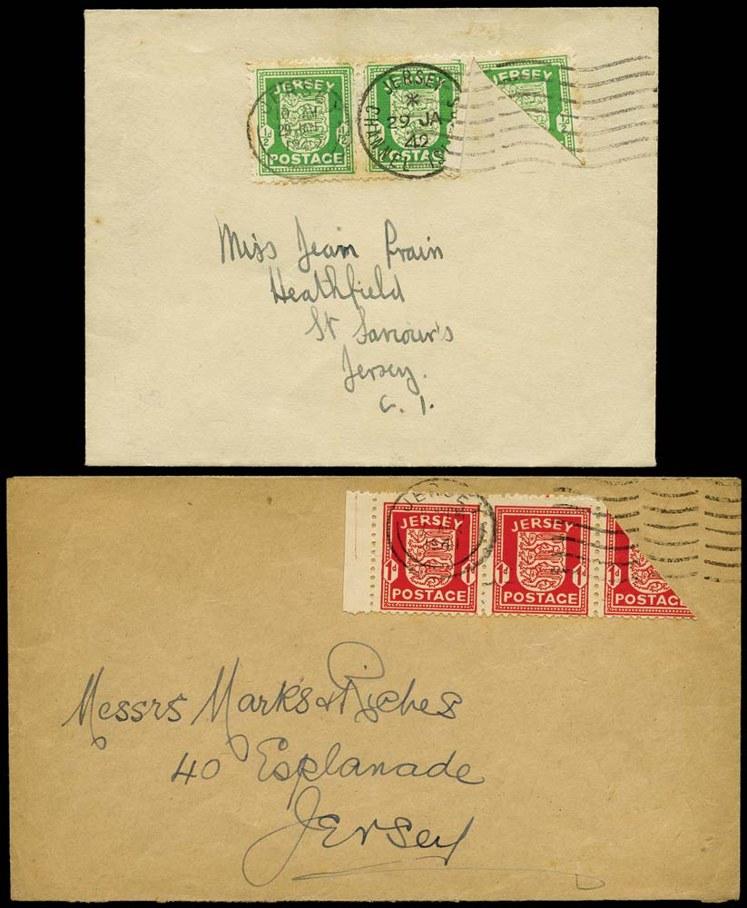 GB 1941-42  SG1,2var Cover - ½d and 1d bisects