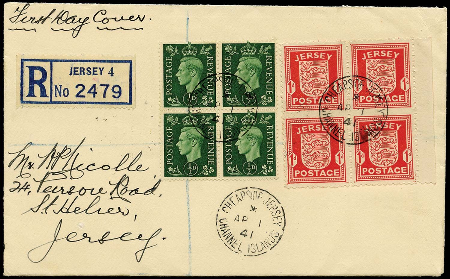 GB 1941  SG2a,462 Cover - 1d imperf between (Vert pair) FDC