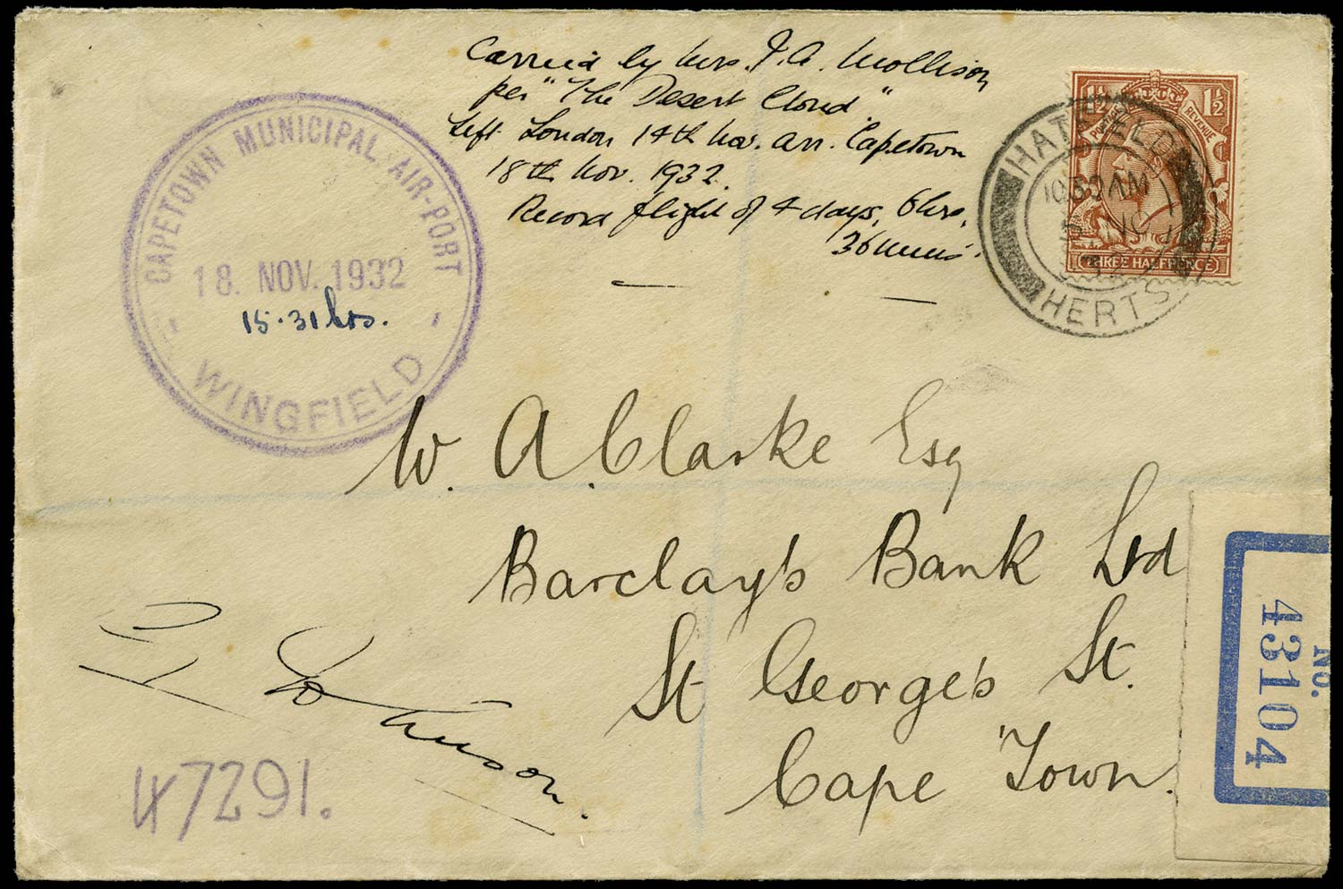 GB 1932  SG420 Cover - Amy Johnson signed cover on record flight to S. Africa