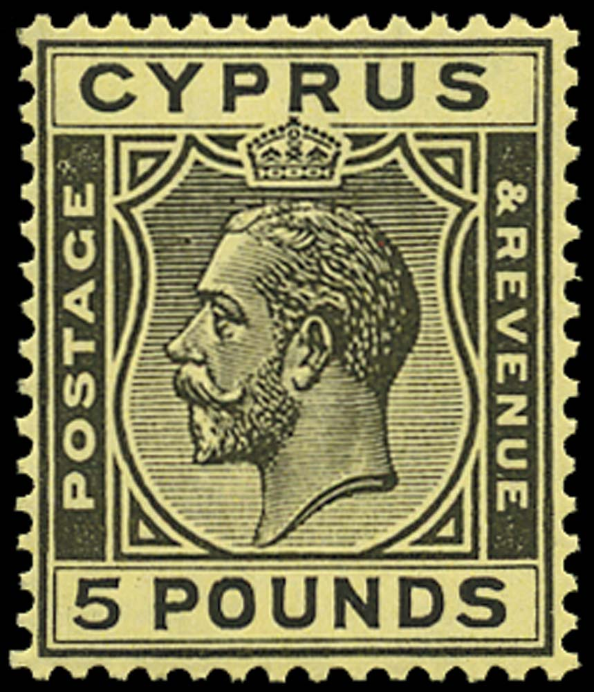CYPRUS 1924  SG117a Mint UNMOUNTED KGV £5 black on yellow paper