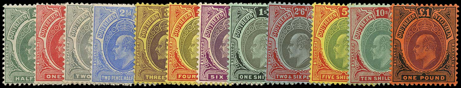 SOUTHERN NIGERIA 1907  SG33/44 Mint new colours set of 12