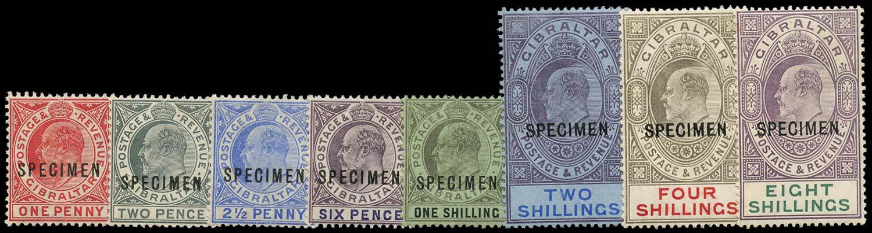GIBRALTAR 1906  SG67s/74s Specimen