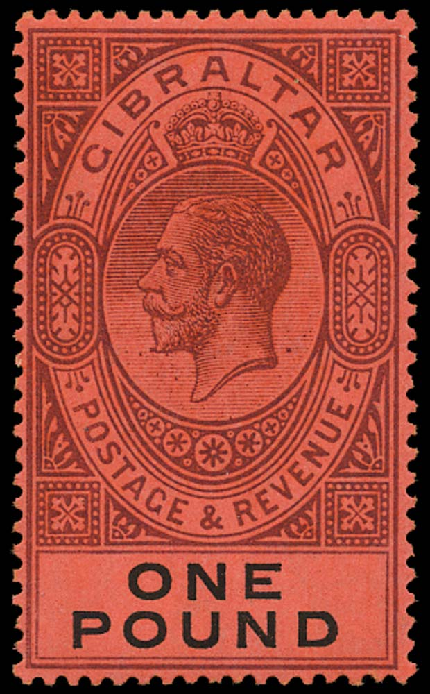 GIBRALTAR 1912  SG85 Mint £1 dull purple and black on red unmounted