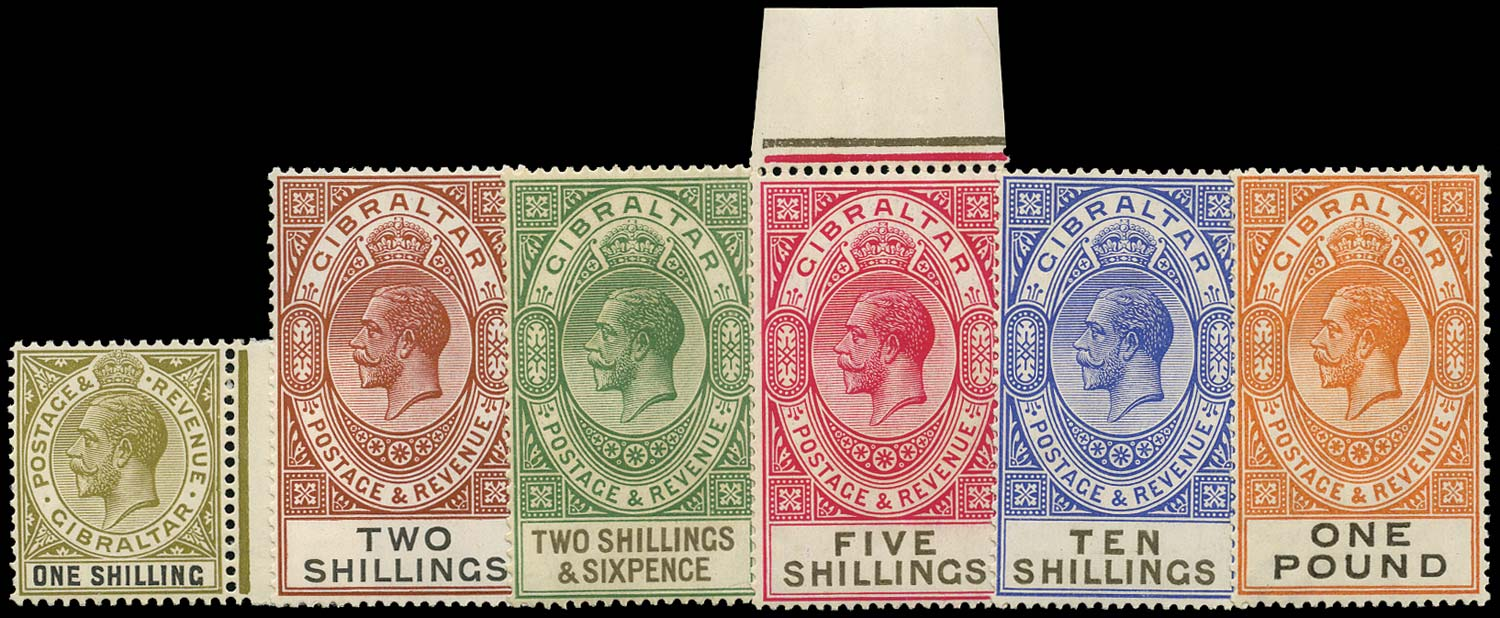 GIBRALTAR 1925  SG102/7 Mint New Colours set of 6 to £1 unmounted