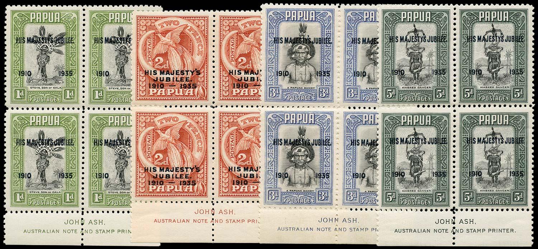 PAPUA 1935  SG150/53a Mint 1d, 3d, 5d with Accent Flaw