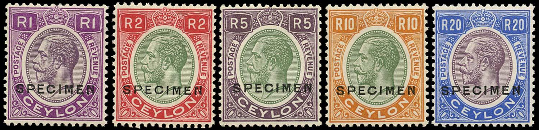 CEYLON 1927  SG363s/7s Specimen