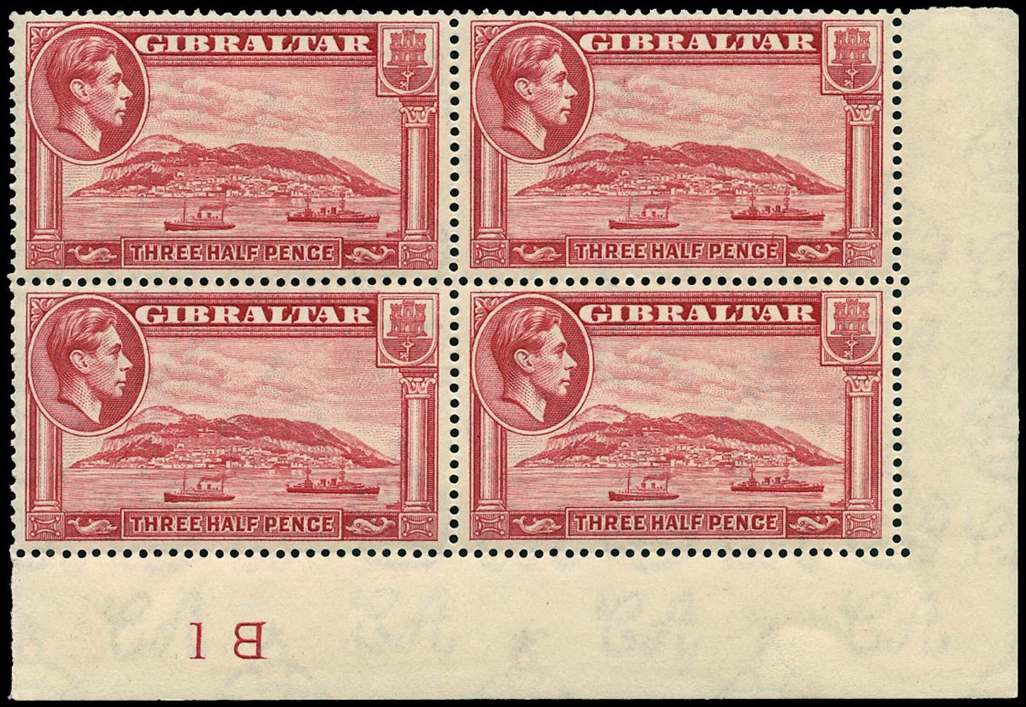 GIBRALTAR 1938  SG123 Mint 1½d carmine perf 14 unmounted