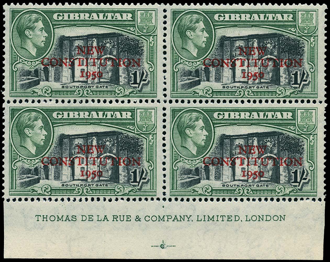 GIBRALTAR 1950  SG143a Mint New Constitution 1s variety Broken R