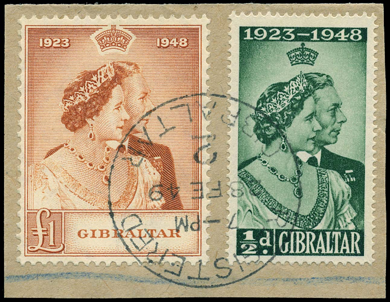 GIBRALTAR 1948  SG134/5 Used Royal Silver Wedding ½d and £1