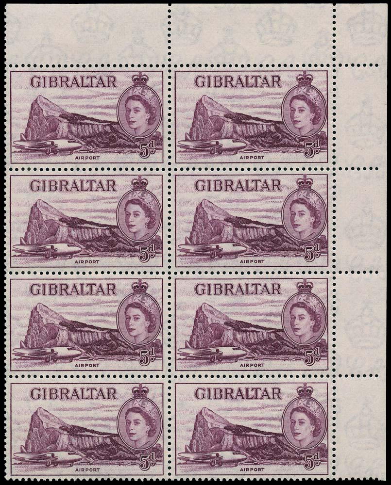 GIBRALTAR 1957  SG152ba Mint QEII 5d deep maroon R4/6 major re-entry