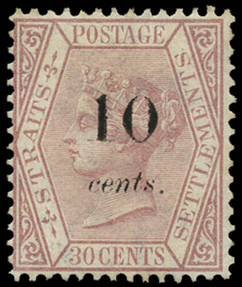 MALAYA - STRAITS 1880  SG22 Mint 10c on 30c claret type 12(a) surcharge