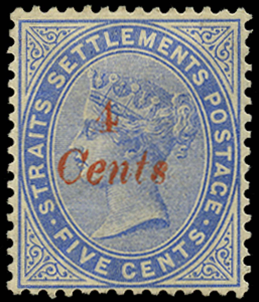 MALAYA - STRAITS 1883  SG73 Mint 4c on 5c blue type 22 surcharge in red