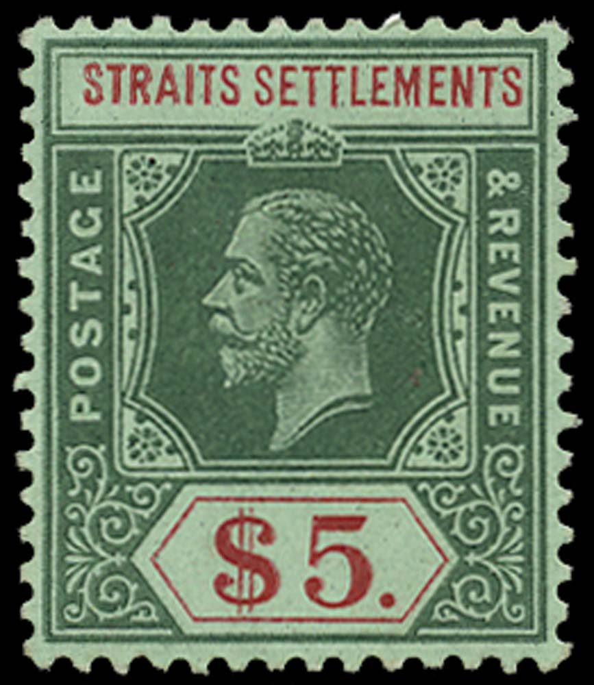 MALAYA - STRAITS 1912  SG212a Mint $5 on green with green back watermark MCA