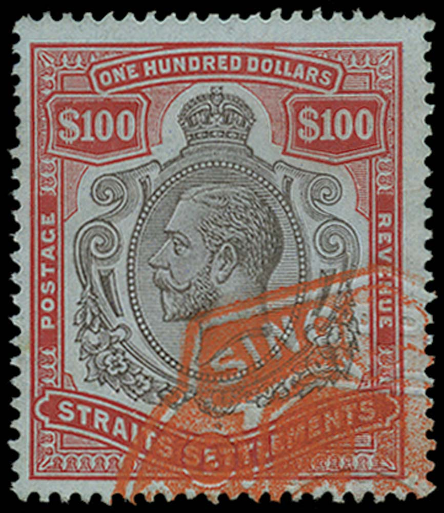 MALAYA - STRAITS 1912  SG214 Used $100 black and carmine on blue fiscally used