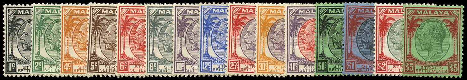 MALAYA - STRAITS 1936  SG260/74 Mint KGV set to $5