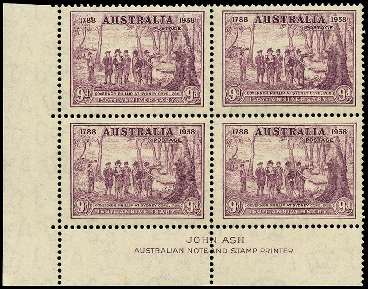 AUSTRALIA 1937  SG195 Mint New South Wales 150th Anniversary 9d purple