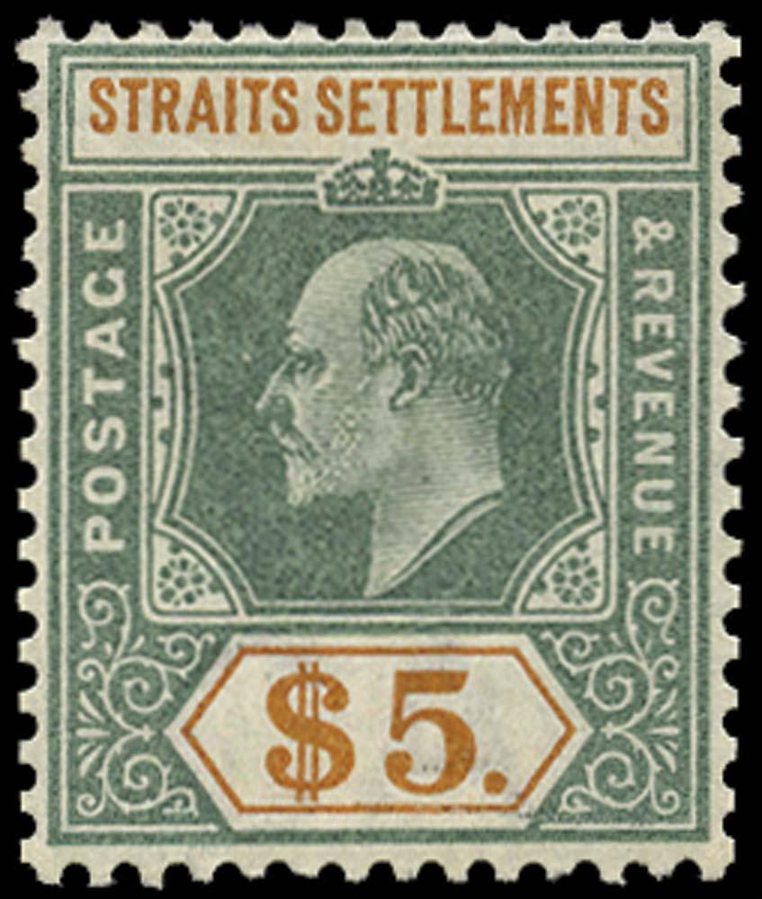 MALAYA - STRAITS 1902  SG121 Mint $5 dull green and brown-orange watermark CA