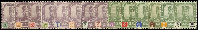 MALAYA - JOHORE 1918  SG89/102 Mint watermark MCA set of 14 to $10