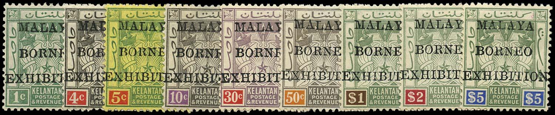 MALAYA - KELANTAN 1922  SG30/38 Mint Malaya-Borneo Exhibition set