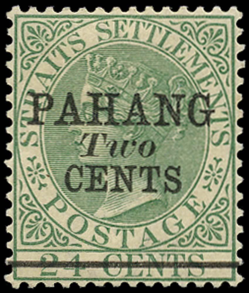 MALAYA - PAHANG 1891  SG8 Mint 2c on 24c green type 6 surcharge