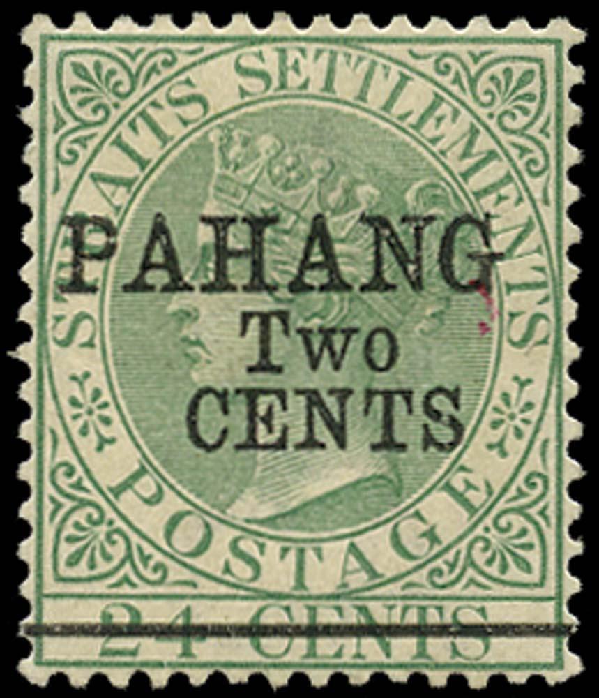 MALAYA - PAHANG 1891  SG9 Mint 2c on 24c green type 7 surcharge