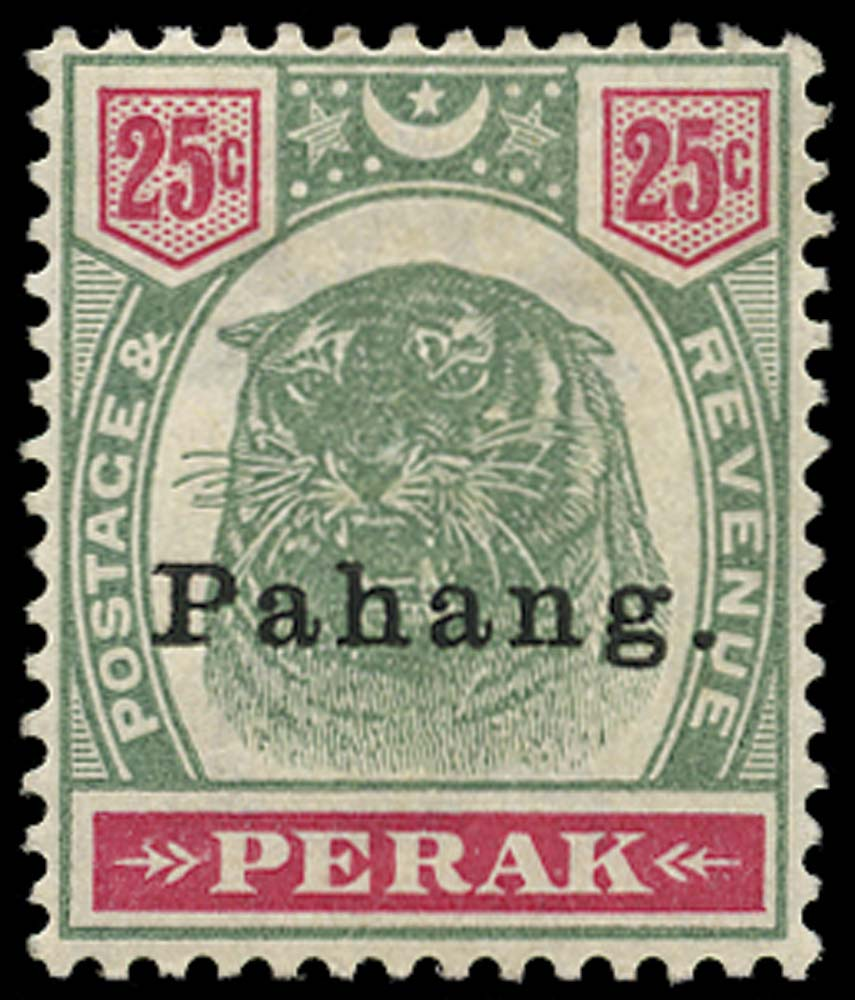 MALAYA - PAHANG 1898  SG20 Mint 25c green and carmine type 11 opt on Perak