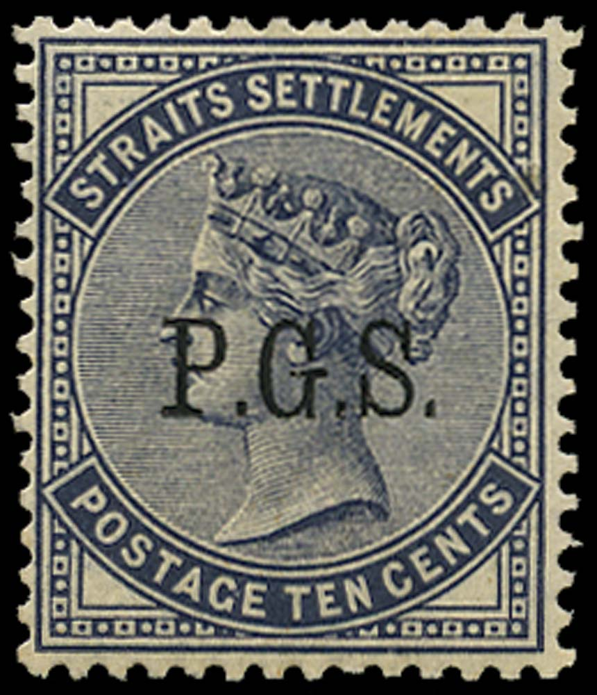MALAYA - PERAK 1889  SGO5 Official 10c slate