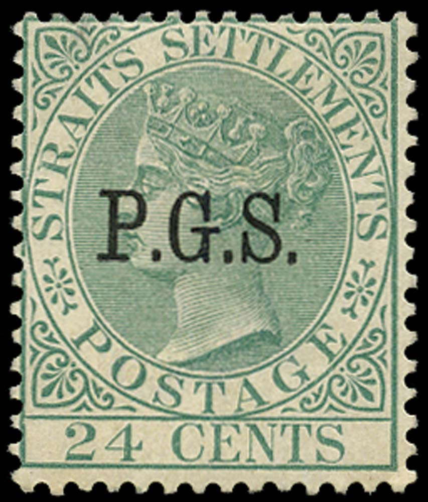 MALAYA - PERAK 1889  SGO9 Official 24c green watermark CA