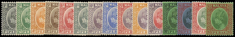MALAYA - PERAK 1935  SG88/102 btwn Mint part set of 14 to $5