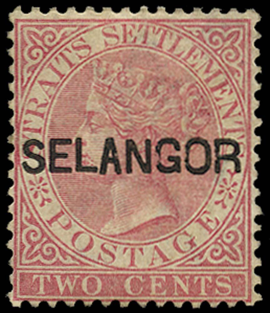 MALAYA - SELANGOR 1883  SG29 Mint 2c pale rose type 22 overprint