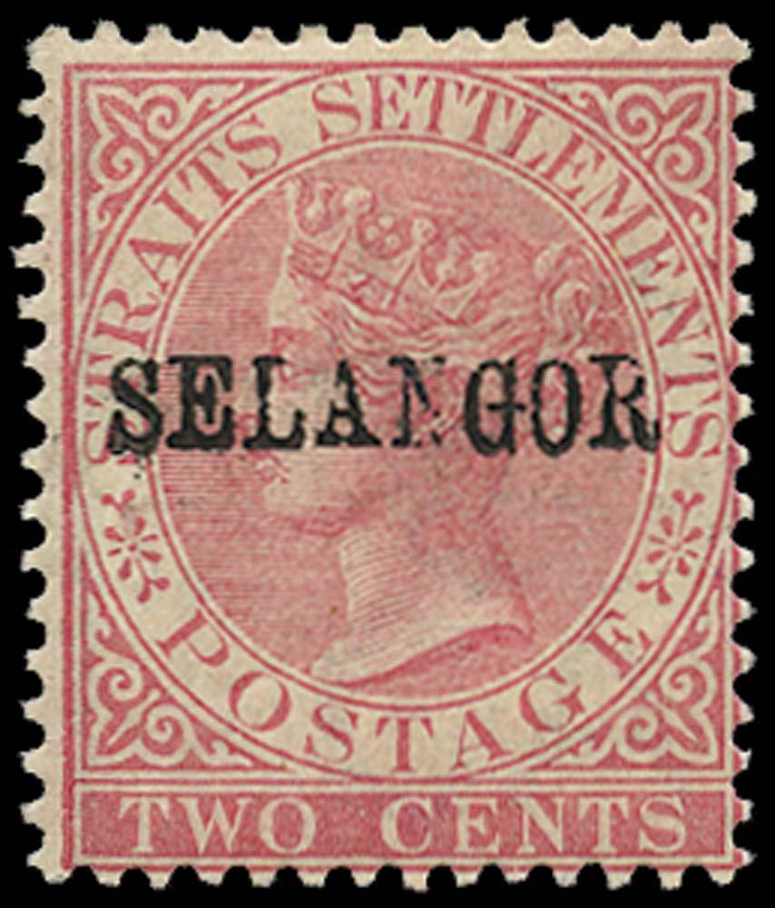 MALAYA - SELANGOR 1883  SG34 Mint 2c pale rose type 27 overprint