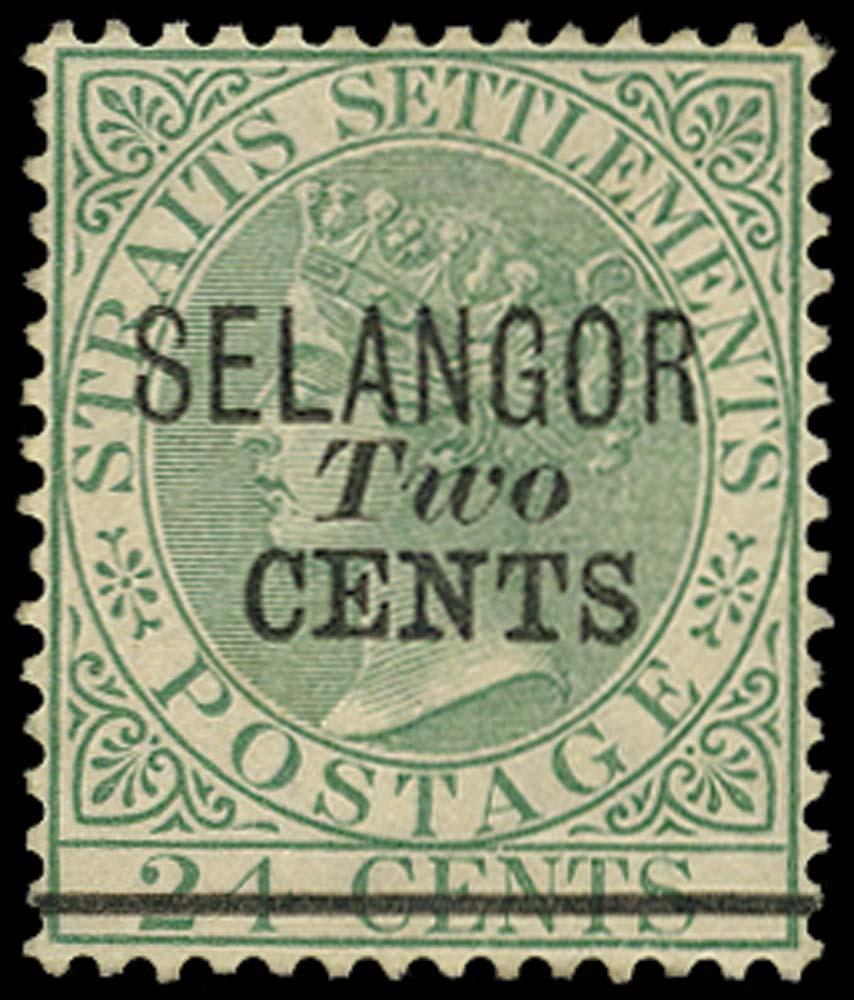 MALAYA - SELANGOR 1891  SG45 Mint 2c on 24c green type 36 surcharge